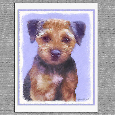 6 Border Terrier Dog Blank Art  Note Greeting Cards