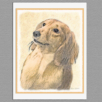 6 Dachshund Longhaired Red Dog Blank Art Note Greeting Cards