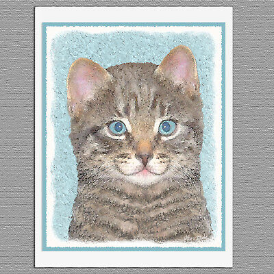 6 Gray Tabby Kitten Cat Blank Art Note Greeting Cards