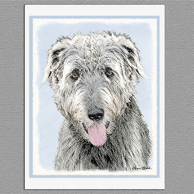 6 Irish Wolfhound Dog Blank Art Note Greeting Cards