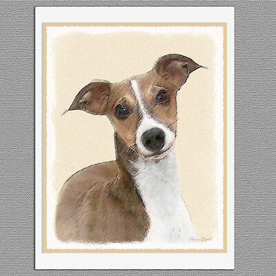 6 Italian Greyhound Dog Blank Art Note Greeting Cards