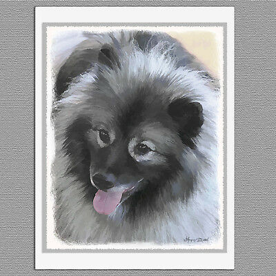 6 Keeshond Bailey Dog Blank Art Note Greeting Cards