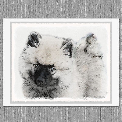 6 Keeshond Puppy Portrait Blank Art Note Greeting Cards