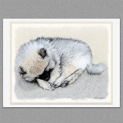 6 Keeshond Sleeping Puppy Dog Blank Art Note Greeting Cards