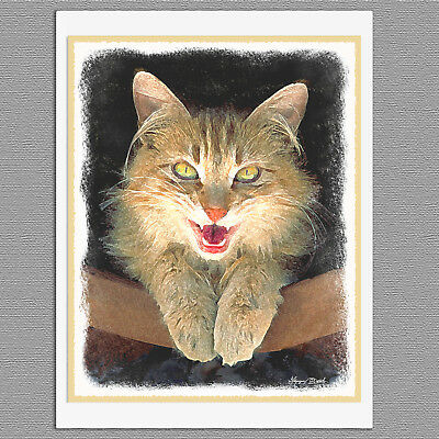 6 Mad Yellow Cat Blank Art Note Greeting Cards
