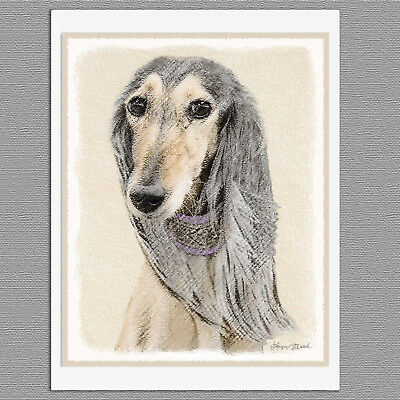 6 Saluki Dog Fawn Blank Art Note Greeting Cards