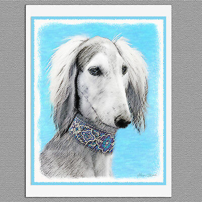 6 Saluki Dog Silver Blank Art Note Greeting Cards