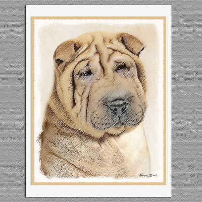 6 Shar Pei Dog Blank Art Note Greeting Cards