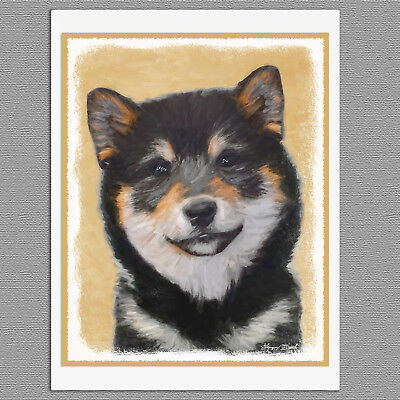 6 Shiba Inu Black and Tan Dog Blank Art Note Greeting Cards
