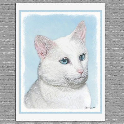 6 White Cat Blank Art Note Greeting Cards