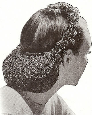 Vintage Crochet PATTERN to make Snood Hair Net Looped Head Band 1940s