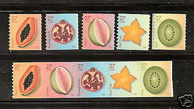 4258-4262 Tropical Fruits strip of 5 & 5 Singles