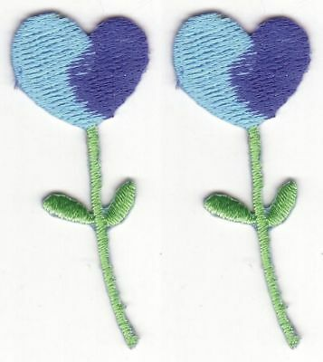 Turquoise Blue Heart Flower Embroidery Applique Patch