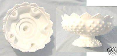 Milk Glass Comport / Flower & Christmas Candle Bowl