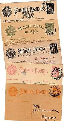 1910/30  PORTUGAL x 5 DIFFERENT POSTAL STATIONERY CARDS