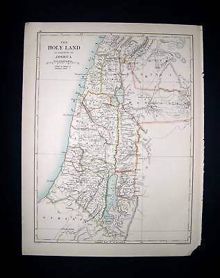 1891 JOHNSTON. Holy Land as allotted by JOSHUA..Giosuè