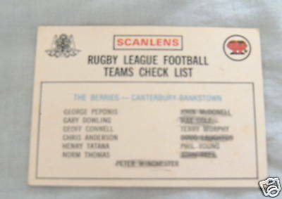 1975 Rugby League Checklist Card - Canterbury, Marked