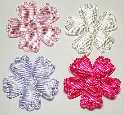 Padded Satin Flower Appliques x 100 Mix-Cards/Bow