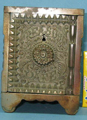 1897 Treasure Safe Nic/ Iron Toy Bank Ornate Authentic & Old *Now On Sale* Ci515