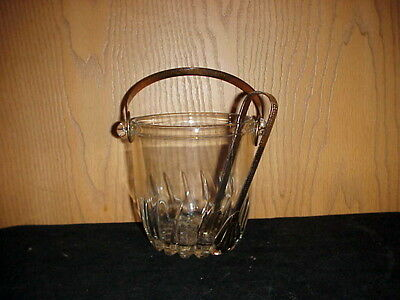 CLEAR GLASS ICE BUCKET W/METAL HANDLE AND TONGS