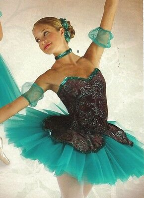 New/pkg SHORT BALLET COSTUME GLITTERED JADE organdy attached tutu peplum Ladies