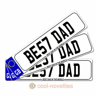 "Be57 Dad ""Best Dad In The World"" Mini Number Plate / Bookmark - Gift For Dad"