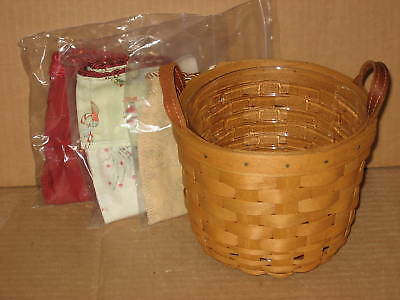 Longaberger Small Fruit Basket Combo Warm Brown stain & THREE fabric liners MINT
