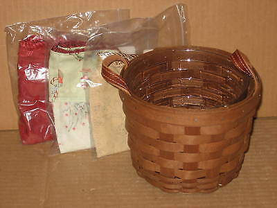 Longaberger Small Fruit Basket Combo Rich Brown Stain & THREE fabric liners MINT
