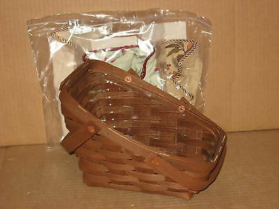 Longaberger Small Vegetable Combo Rich Brown Flax liner + 2 Extra liners MINT