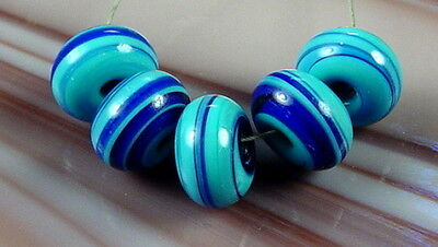 ROA Lampwork 5 Turquoise Cobalt Marble Glass Beads SRA