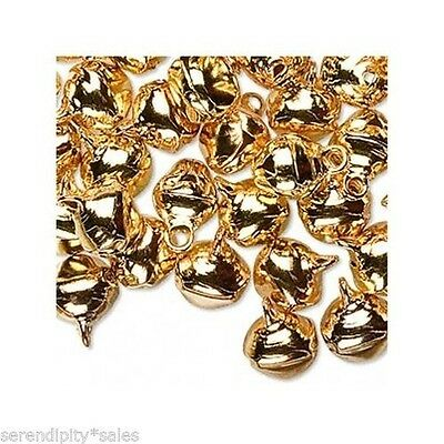 LOT 100 JINGLE BELLS ~ GOLD Color ~ Great for Charms Beads 10mm 3/8""