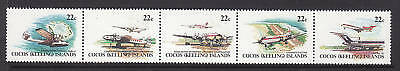 1981 Aircraft of Cocos Island - MUH Strip of 5