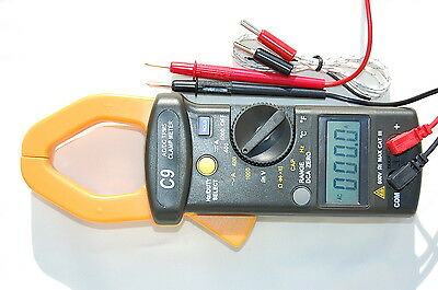 True RMS AC DC Clamp Meter Ammeter Multimeter Capacitor Tester+Type K TCl HVAC