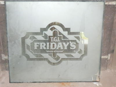 """TGI FRIDAY'S THICK GLASS ETCHED SIGN ART - 37"""" x 33"""""""