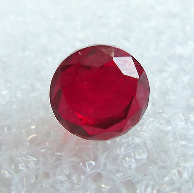 Ruby Synthetic Sapphire Round Checker Gemstone 4.5 Carats