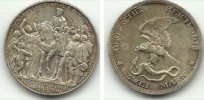 Germany Prussia - 2 Mark Silver-Wilhelm Ii-1913 - 00487