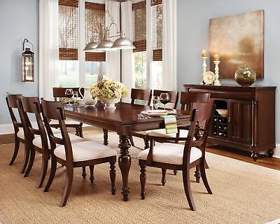 Cherry Wood Dining Room Furniture Table 6 Chairs Set