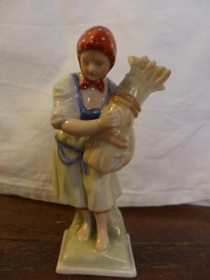 HEREND Lady With Wood Folklore Porcelain  Hungary