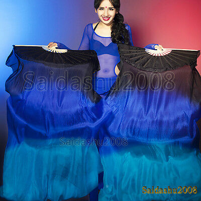 Belly dance Chinese fan veils 100% real silk a pair of left+right hand