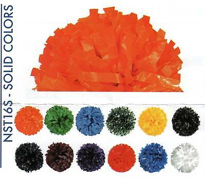 """New Adult Poms 3/4"""" 6"""" Length Solid  Colors Baton Handle Cheer"""