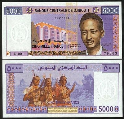 DJIBOUTI  5000 Francs nd (2002)  UNC  P 44