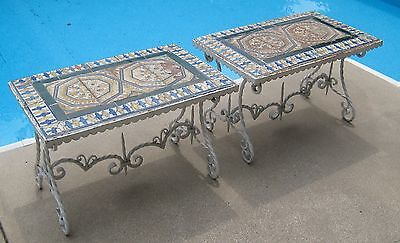 (2) Vintage Wrought Iron Tile Top Tables     #543