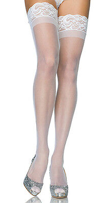 Sheer White Lycra Stay-Up Thigh-High Stockings, Leg Avenue 1022, One Size
