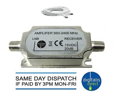 Signal Amplifier In-Line Sky Satellite Booster +Cable for Loss on Long Cable Run