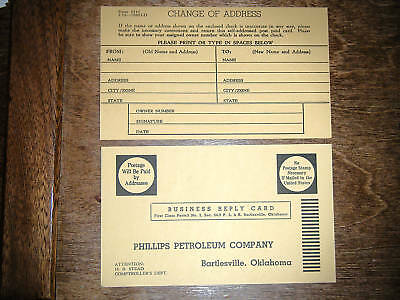 (2) 1950s Phillips 66 Oil Business Reply Postcards OK