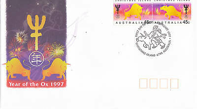 1997 Xmas Island Year of the Ox FDC - Gummed