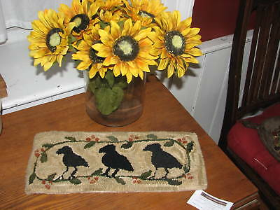 "Primitive Hooked Rug Pattern On Monks ""3 Crows In The Bittersweet"""