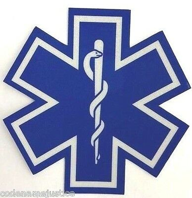 """STAR OF LIFE EMS EMT PARAMEDIC REFLECTIVE DECAL - 2"""""""