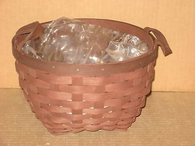 """Longaberger 8"""" American Work Basket Merlot stain with protector Mint never used!"""