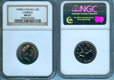 1998W Canada Caribou 25 Cents Ngc Ms-67